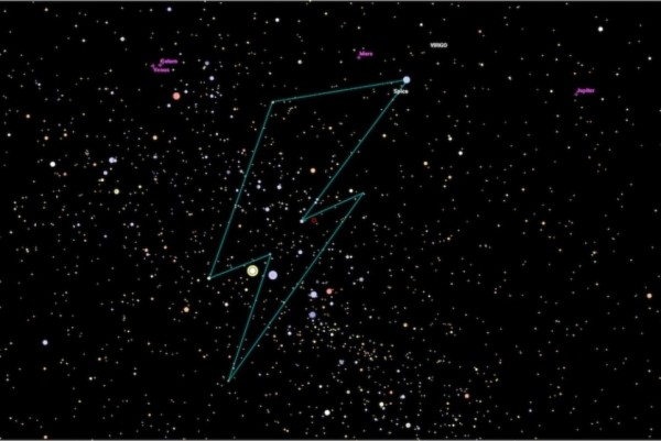 The constellation Bowie is a lightning bolt starting at the star Spica, the brightest star in Virgo.