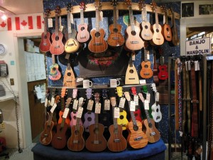 A portion of the ukulele selection at Appalachian Bluegrass Shoppe. (Anthony C. Hayes)