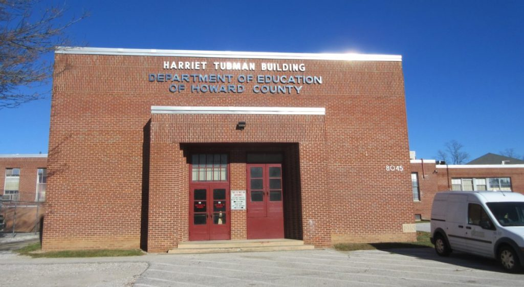 "The Harriet Tubman building. Photo by Len Lazarick The Harriet Tubman building, erected in 1948, was the ""Negro"" junior-senior high school till the mid Sixties, then served as the system headquarters. It now houses the construction division. Photo by Len Lazarick"