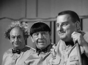 "Three Stooges Larry Fine, Moe Howard and Joe DeRita in a screenshot from ""Have Rocket, Will Travel."" The Three Stooges were guests of the Lord Baltimore Hotel on a number of occasions in the 1950's."