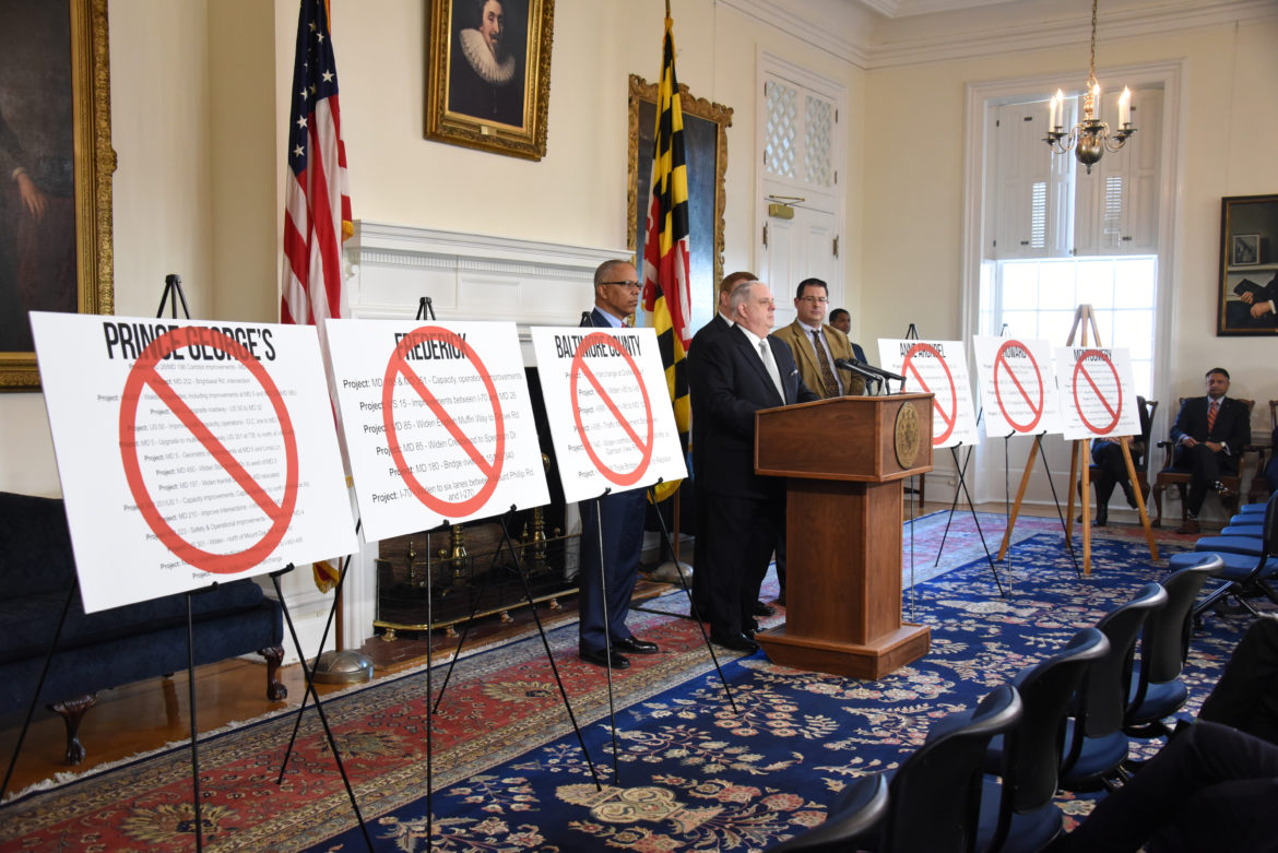 Gov. Larry Hogan presented charts of all the road projects he said would be killed by the transportation scoring law. Governor's Office photo.