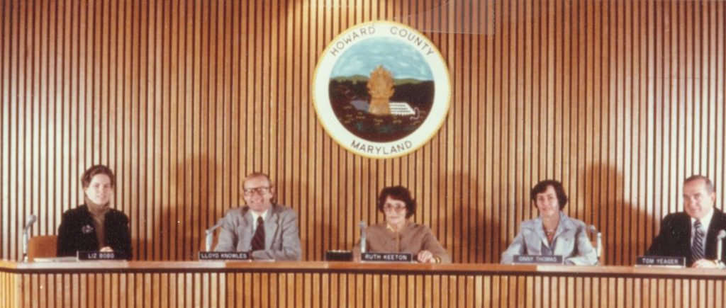 The Howard County Council in 1978. From left, Elizabeth Bobo, appointed in 1977, elected county executive in 1986, lost reelection bid in 1990, elected to the House of Delegates in 1994, retired in 2014; Lloyd Knowles, elected in 1974, lost a reelection bid by district to Ruth Keeton in 1986; Ruth Keeton, elected in 1974, resigned from the council in 1989 due to her worsening Alzheimer's disease; Ginny Thomas, elected in 1974, elected to the House of Delegates in 1982, lost election for state Senate in 1994; and Thomas Yeager, elected in 1974, elected state senator in 1982, defeated for reelection in the Democratic primary by Ginny Thomas in 1994. Photo by Howard County government. Courtesy of Columbia Archives