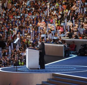 President Obama delivered a speech that highlighted his accomplishments and then gave a ringing endorsement of Hillary Clinton. ( Doug Christian)