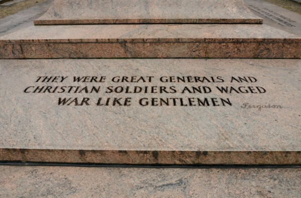 Inscription at the Lee Jackson Monument in Baltimore. (Anthony C. Hayes)
