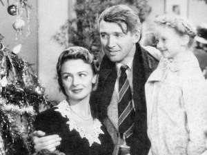 Donna Reed, Jimmy Stewart and Carolyn Grimes from the 1947 film It's A Wonderful Life.