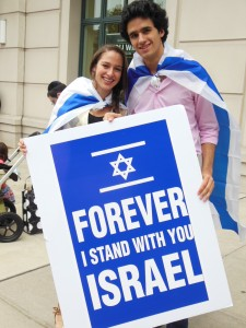 Hopkins students Nichole and Jeremy organized Friday's Pro-Israel event. (Anthony C. Hayes)