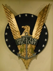 Ships For Victory plaque overlooks the mess hall of the John W. Brown.  (Anthony C. Hayes)