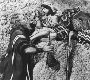 Charlton Heston and Kathy Garver in the The Ten Commandments.