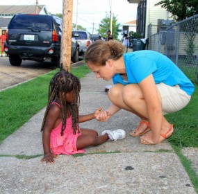 Missionary Katie Manning in New Orleans with a young friend