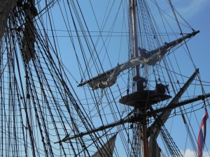 Sailors begin the process of drying the sails. (Anthony c. Hayes)