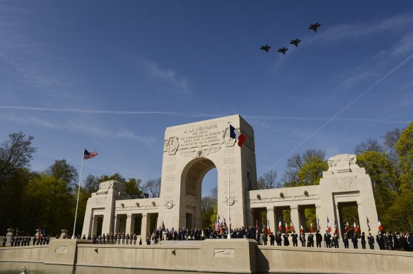 Four U.S. Air Force F-22 Raptor fifth generation fighters fly over the Lafayette Escadrille Memorial in Marnes-la-Coquette, France, April 20, 2016, during a ceremony honoring the 268 Americans who joined the French air force before the U.S. officially engaged in World War I. In addition to the F-22s, a U.S. Air Force B-52 Stratofortress bomber, four French air force Mirage 2000Ns and a World War I-era Steerman PT-17 biplane performed flyovers during the ceremony commemorating the 100th anniversary of the Layfette EscadrilleÕs formation. Men of the Lafayette Escadrille and Lafayette Flying Crops were critical to the formation of the U.S. Air Force. (U.S. Air Force Photo by Tech. Sgt. Joshua DeMotts)