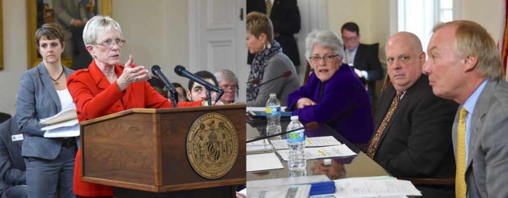 State Elections Administrator Linda Lamone testifies Dec. 2, 2015 to the Board of Public Works made up of, from right, Comptroller Peter Franchot, Gov. Larry Hogan, Treasurer Nancy Kopp. Photos by Joe Andrucyk, Governors Office.