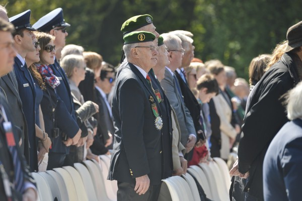 French and American military and civilian representatives attend the Lafayette Escadrille Memorial 100th anniversary ceremony in Marnes-la-Coquette, France, April 20, 2016 during a ceremony honoring the 268 Americans who joined the French air force before the U.S. officially engaged in World War I. During the ceremony, the men and women attending paid tribute to the Americans who served with died fighting for the French in World War I. The memorial highlights the 238 year alliance between the U.S. and France with their long history of shared values and sacrifice. (U.S. Air Force Photo by Tech. Sgt. Joshua DeMotts)