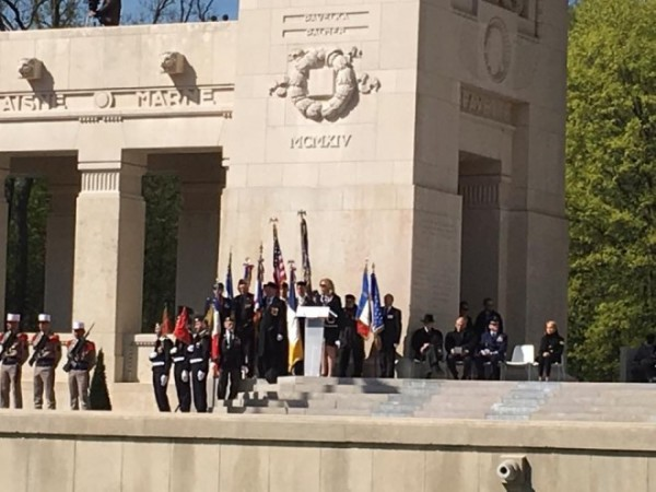 Secretary of the Air Force, Deborah Lee James, speaks to the crowd about the shared sacrifice and long standing relationship of the U.S.and France at the Lafayette Escadrille centennial event.
