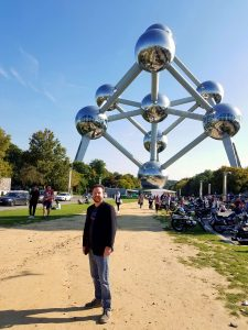 Leonard Kinsey at the Atomium in Brussels, Belgium.