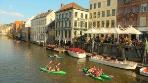 Waterhuis ann de bierkant (Waterhouse on the beerside) in Ghent is a scenic and historic canal-side bar. (Leonard Kinsey)