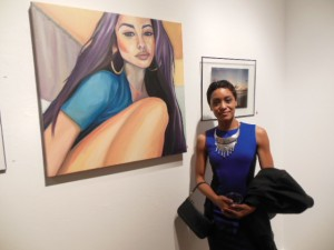 """Artist Candace Fong with her oil on canvas composition """"Kai"""". (Anthony C. Hayes)"""