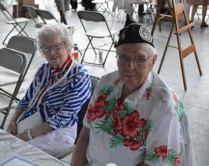 "Pearl Harbor survivor S/Sgt Richard G. ""Dick"" Schimmel (r) with an unknow friend at the 2016 Mid-Atlantic Air Museum WWII Weekend. (Anthony C. Hayes)"