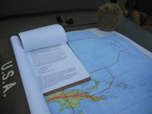 "Authentic war maps were re-created for use in ""mission"" briefings."