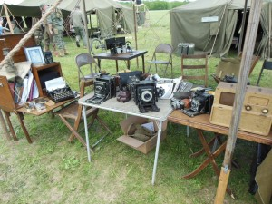 A display of cameras used by Signal Corps photographers.