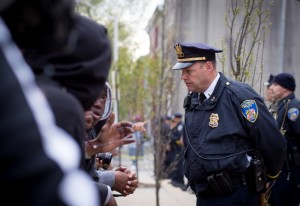 Peaceful protest with heavy police presence in Baltimore. (Erik Hoffman)