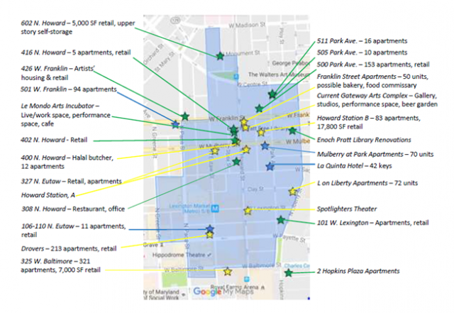 A map showing the Market Center development activity. (courtesy Baltimore's Market Center Merchants Association)