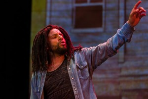Mitchell Brunings portrays Bob Marley in an original production at Centerstage. (Richard Anderson)