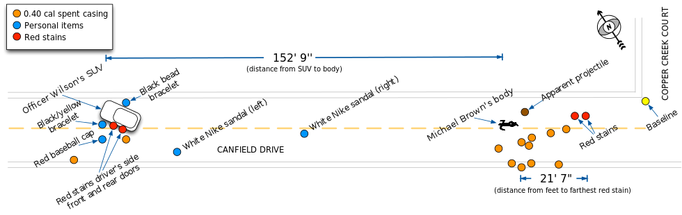 Michael Brown shooting diagram. (Wikipedia)