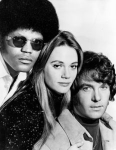Publicity photo from the television program The Mod Squad. The main cast is pictured, from left: Clarence Williams III, Peggy Lipton, Michael Cole. (Wikimedia)