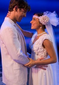 Dustin Harris Smith and Lizzie Markson portray Sky and Sophie in Momma Mia! (courtesy)
