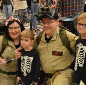 Ghostbuster cosplayers pose with two boys at Monster-Mania-Con in Hunt Valley, Maryland Sept 2017 credit Anthony C. Hayes
