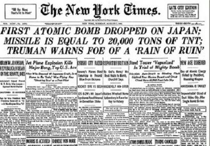 NYT Headline On The A-Bomb