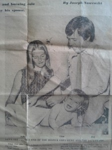 A pohot of Joe Nawrozki with his wife and infant daughter from a piece he wrote for the News American. (Courtesy Lisa Nawrozki)