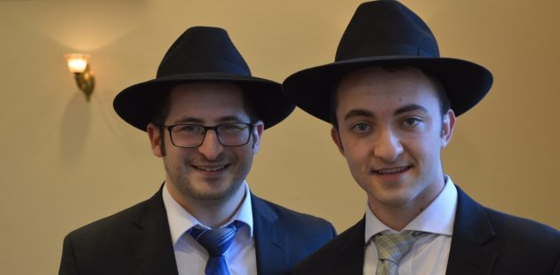 Baruch Rosenstein and Yechiel Brejt were two of the rabbinic students who led Kol Nidre services at North Oaks Senior Community in Pikesville, Maryland. (Anthony C. Hayes)