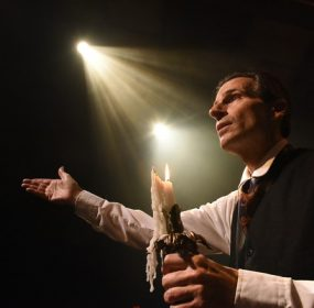 Paul Morella as the narrator in a one man production of A Christmas Carol at Olney Theatre. (Stan Barouh)