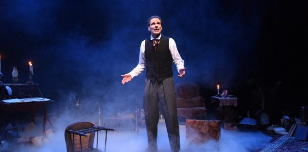 Paul Morella plays some 50 characters in A Christmas Carol: A Ghost Story of Christmas at Olney Theatre Center. (Stan Barouh)