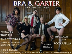 Sticky Buns Bra and Garters featuerd (l-r) Sunny Sighed, Nicolette Le Faye, Marla Meringue, Paco Fish and ShortStaxx.