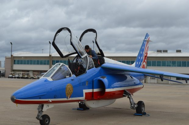 An Alpha jet of the Patrouille de France on the tramac at Charles B. Wheeler Downtown Airport in Kansas City, Mo. The Patrouille de France was in Kansas City, Mo. to honor American Servicemen at the April 6, 2017 Centennial Commemoration of America's involvement in World War I. (Anthony C. Hayes)