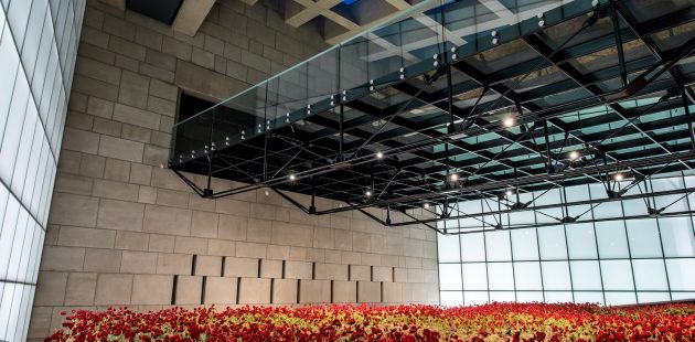 Paul Sunderland Glass Bridge & Poppy Field at the National WWI Museum and Memorial in Kansas City, Missouri