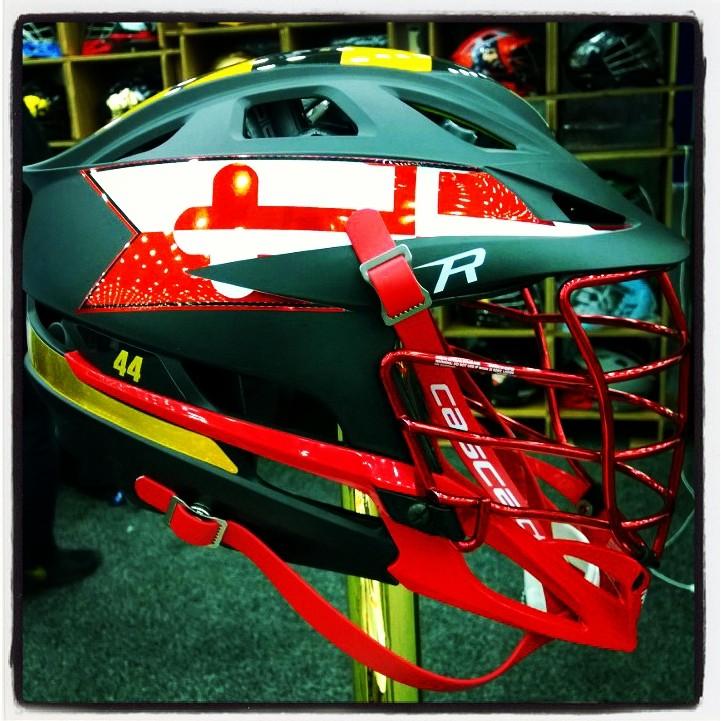 Mock-up of a Maryland helmet design on display (T. Flynn)