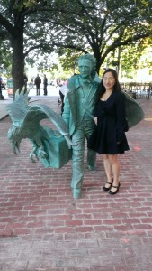 Katherine Kim with Poe in Boston.