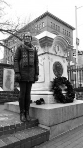 Victoria Price at the grave of Edgar Allan Poe. (Stacy Atwell)