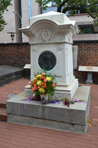 The annual wreath laying took place at Poe's grave at Westminster Hall and Burying Ground. (Anthony C. Hayes)