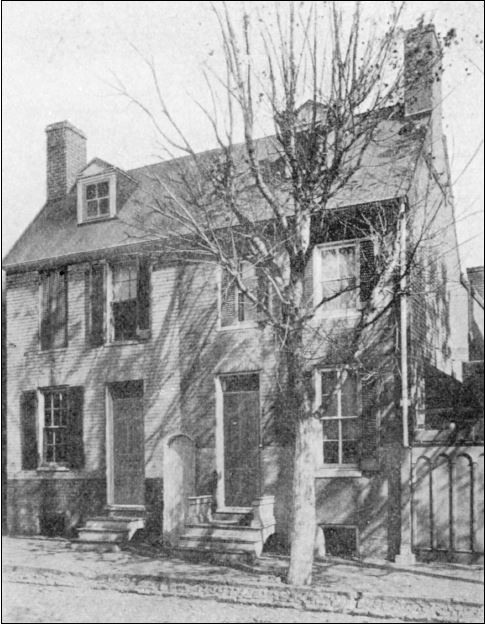 "Edgar Poe had been living with his grandmother and aunt's family in Baltimore for two years when they moved to this small house at 3 North Amity Street. Its location was then termed the ""Western Precincts."" but, in reality, it was the absolute western edge of town. Maria Clemm moved her family by 1833, perhaps a year or more after the attached houses were completed.. It is not known if they were the first tenants.  Although gas service had begun in the center of the city, infrastructure to the western extremities would be many years away . Lamp oil cost money, so, at night Poe coercively wrote by candlelight.  Water for bathing, cooking and cleaning had to be retrieved, perhaps from a well in the ""neighborhood"" or Schroeder's Run about 150 yards west of the house. This is the only known photograph of the duplex as it appeared in Poe's time. (Edgar Allan Poe Society)"