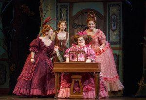 Cinderella and her family (l-r) Sarah Primmer (Madame), Tatyana Lubov (Ella), Joanna Johnson (Charlotte) & Mimi Robinson (Gabrielle).