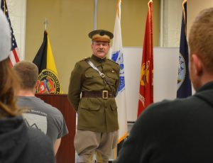 Actor David Shuey as General John J. Pershing speaks to a Mizzou ROTC class at the University of Missouri. (Anthony C. Hayes)