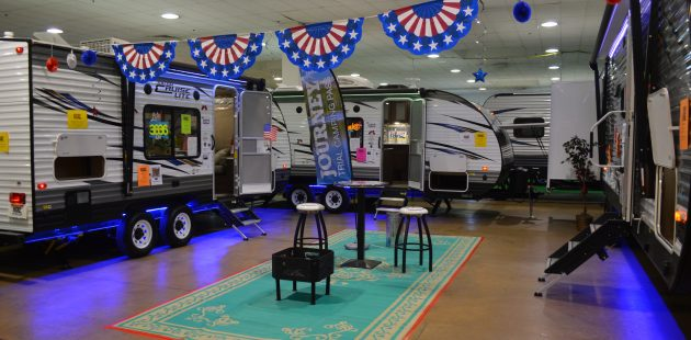 A display of travel trailers at the 2018 Maryland RV Show at the Maryland State Fairgrounds. (Anthony C. Hayes)
