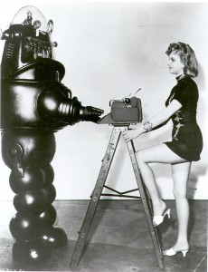 Robby the Robot (from Forbidden Planet) with Anne Francis and his Remington Super-Riter