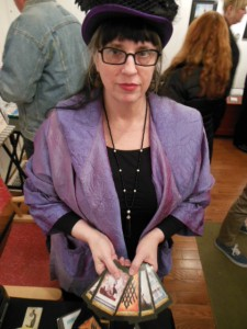 Artist Cheryl Fair with the proofs from her forthcoming Magical Realism Tarot deck. (Anthony C. Hayes)