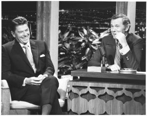 Ronald Reagan with Johnny Carson in 1975.